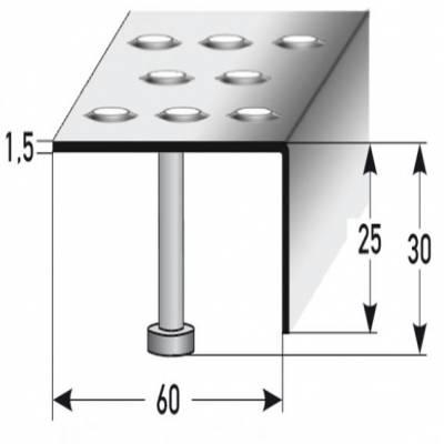 """Treppenkante """"Lana"""" 25 mm x 60 mm Edelstahl, Rutschhemmend R12 DIN 51130, Prägelochung"""