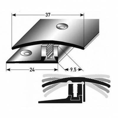 """Übergangsprofil / Übergangsschiene Laminat """"Perth"""", H 7 x 17 mm, B 37 mm, Edelstahl, Flex"""