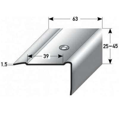 "Treppenkante ""Mirabella"" / Kombiwinkel, Breite: 63 mm, Höhen 25 - 45 mm, Edelstahl matt, ,"