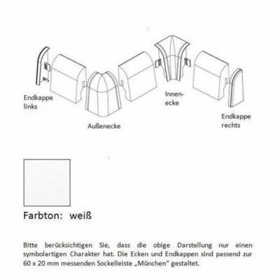 Außenecken für MDF-Sockelleisten 6x2 mm