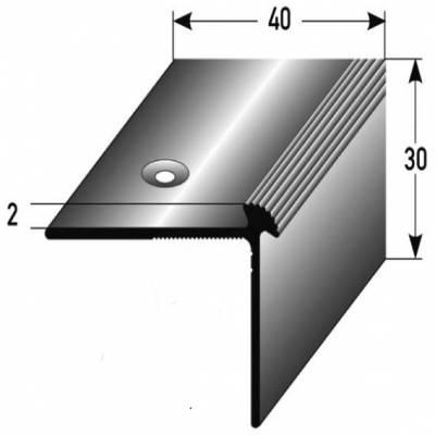 """Treppenkante """"Luzzi"""" / Winkelprofil 40 mm x 30 mm x 2 mm Aluminium eloxiert"""