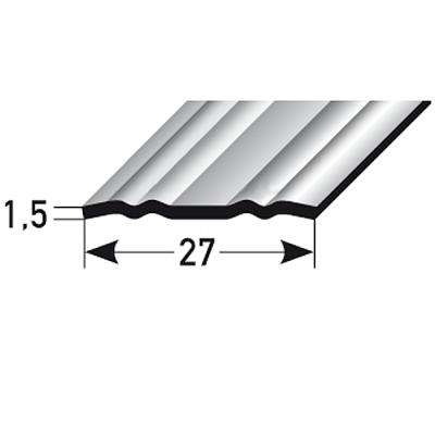"""Übergangsprofil """"Stavoren"""" / Übergangsschiene, 27 mm, Typ: 439 Edelstahl mit profilierter Riffelung"""