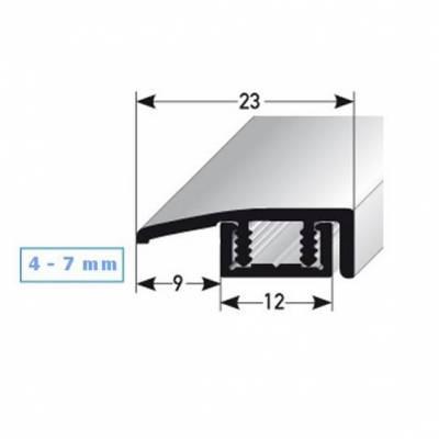 """Abschlussleiste """"Scranton"""", für Höhen 4 - 7 mm, 23 mm breit, 2-teilig, Aluminium eloxiert,"""