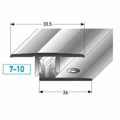 """Klick-Übergangsprofil / Übergangsschiene """"Welland"""" Höhe 7-10 mm, 33,5 mm breit, Aluminium eloxiert"""