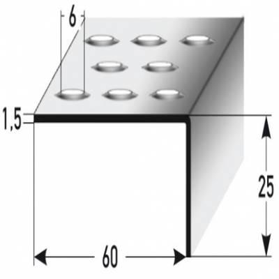 """Treppenkante """"Empoli"""" / Winkelprofil 25 x 60 mm Edelstahl, Rutschhemmend R12 DIN 51130 Prägelochung"""