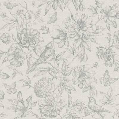 Rasch Florentine | 449440 | Vliestapete Blumentapete | 0.53 m x 10.05 m | Grün