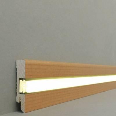 """Licht - Fußleisten / Licht - Sockelleisten """"Lübeck""""(Echtholzfurnier - 16.61.6L) - Buche gedämpft"""