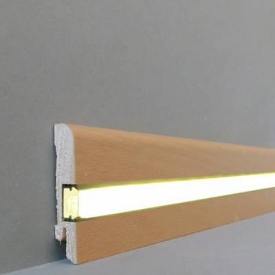 """Licht - Fußleisten / Licht - Sockelleisten """"Erfurt"""" (Echtholzfurnier / 15.7.6L) - Buche gedämpft"""