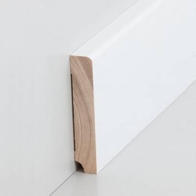 "Sockelleiste / Fußleiste ""Zeven"" Massivholz - Kiefer 60 - 80 mm - Kiefer deckend weiß lackiert"