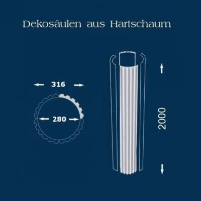 """Säulenschaft / Säulenprofil """"Wiesemann SP16 kanneliert"""" - unbeschichtet"""