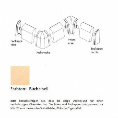 Endkappen und Ecken für MDF-Sockelleisten - Buche hell