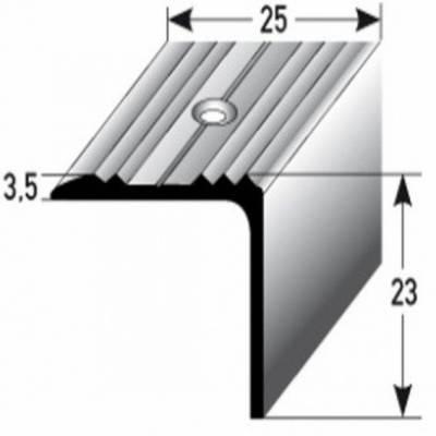 """Treppenkante / Winkelprofil """"Hastings"""" (Größe 25 mm x 23 mm) aus Edelstahl V4A (gezogen), gebohrt (Default)"""