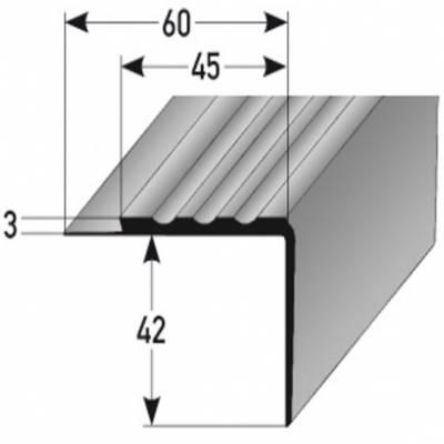 """PVC-Treppenkante """"Amieira"""" PVC-Winkel für Beläge bis 3 mm, B 45 mm, H 42 mm, weiches PVC Typ 363"""