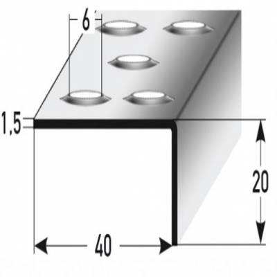 "Treppenkante ""Stilo"" / Winkelprofil 20 x 40 mm Edelstahl, Rutschhemmend R12 DIN 51130 Prägelochung"