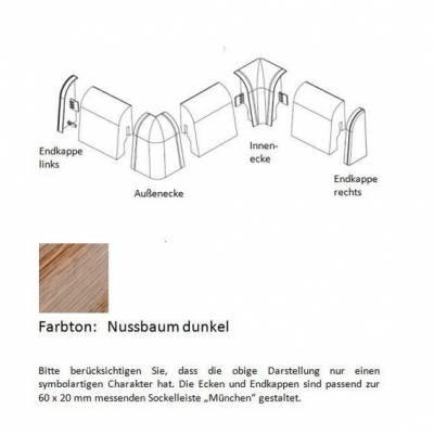 Endkappen und Ecken für MDF-Sockelleisten - Nussbaum dunkel