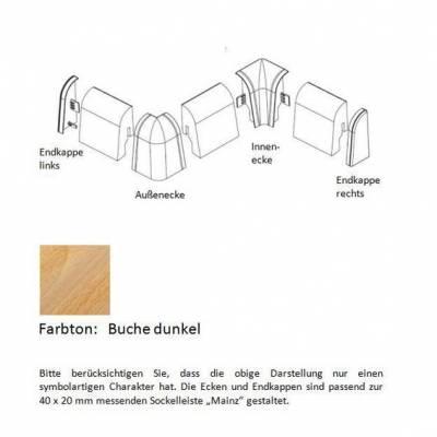 Endkappen und Ecken für MDF-Sockelleisten - Buche dunkel