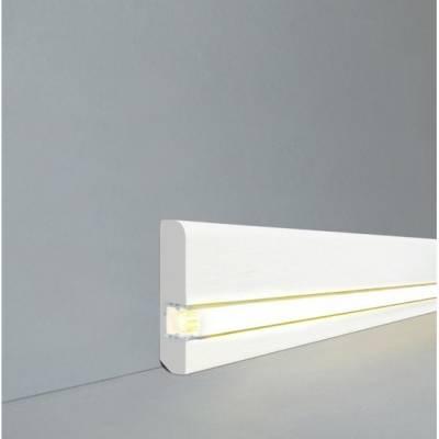 """Licht - Fußleisten / Licht - Sockelleisten """"Bochum"""" (Massivholz lackiert / 15.13.58.31L) - weiß"""