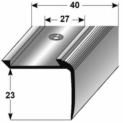 "Treppenkante ""Enna"" / Kombiwinkel / Winkelprofil 27 mm x 40 mm Aluminium eloxiert"