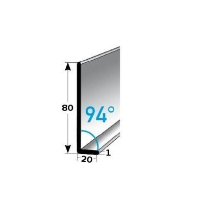 Fußleiste / Sockelleiste TYP 80 Aluminium, in verschiedenen Varianten, Winkel: 94°