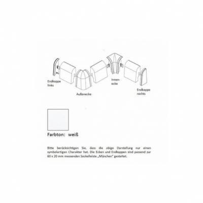 Aussenecken für MDF-Sockelleisten 6x2 mm - Eiche
