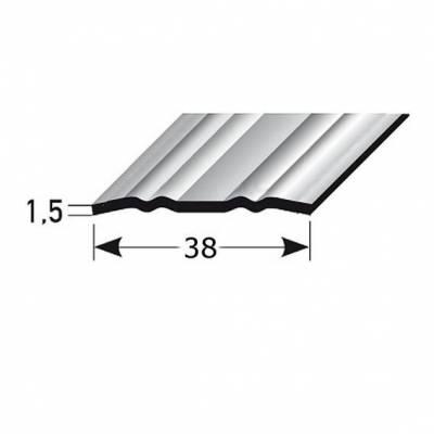 """Übergangsprofil """"Deventer"""" / Übergangsschiene, 38 mm, Typ: 440 Edelstahl mit profilierter Riffelung"""