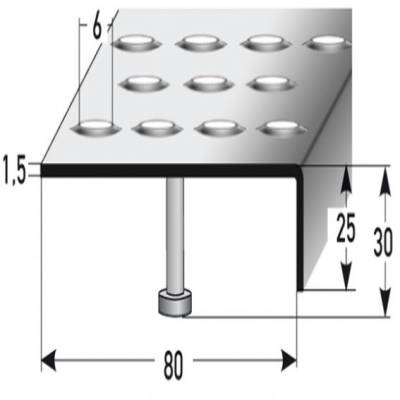 """Treppenkante """"Andria"""" 25 mm x 80 mm, Edelstahl, Rutschhemmend R12 DIN 51130, Prägelochung"""
