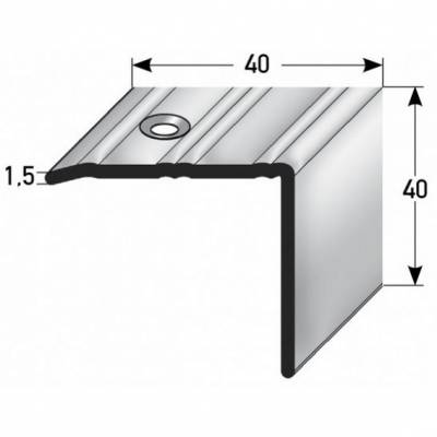 "Treppenkante ""Ortona"" / Winkelprofil 40 mm x 40 mm Edelstahl, Rutschhemmend R10 DIN 51130"